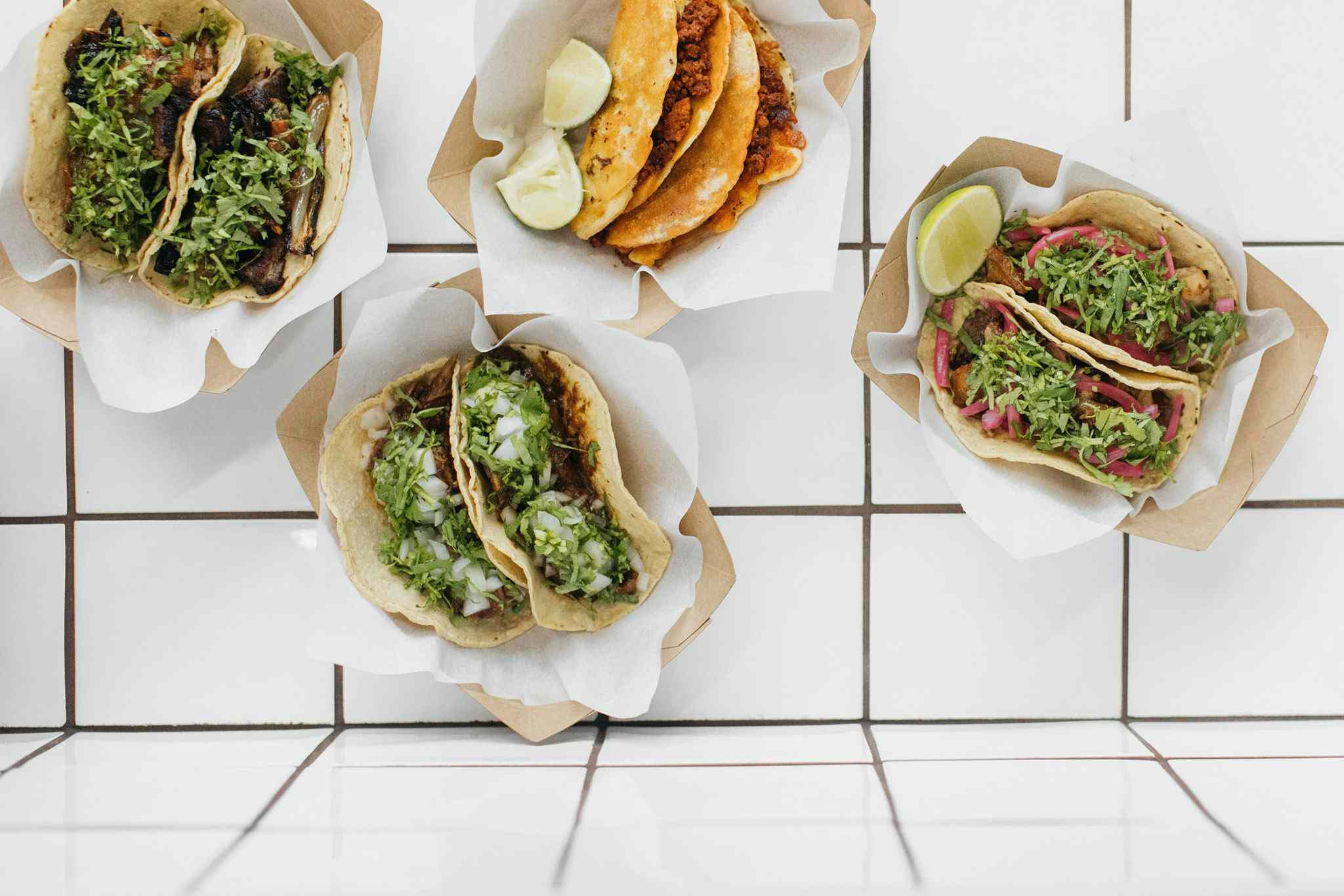 Tacos on a tiled table