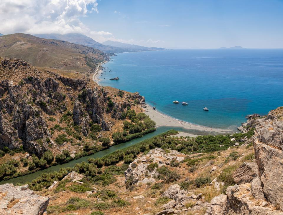 Aerial view of Preveli palm beach and lagoon, Rethymno, Crete, Greece, Mediterranean