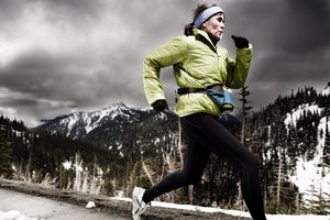 An amateur marathon and endurance athlete running Olympic National Park