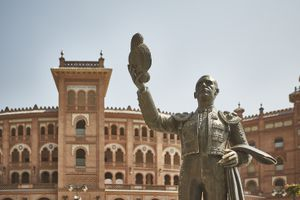 Statue of a matador outside of the bullfighting stadium in Madrid