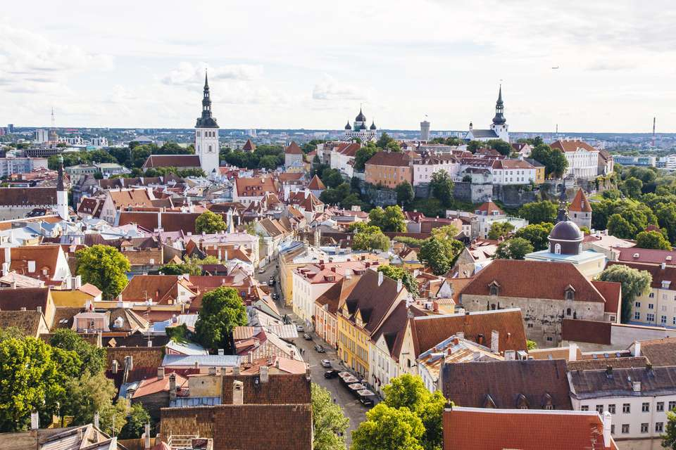 Aerial view of Tallinn cityscape on a sunny day, Estonia