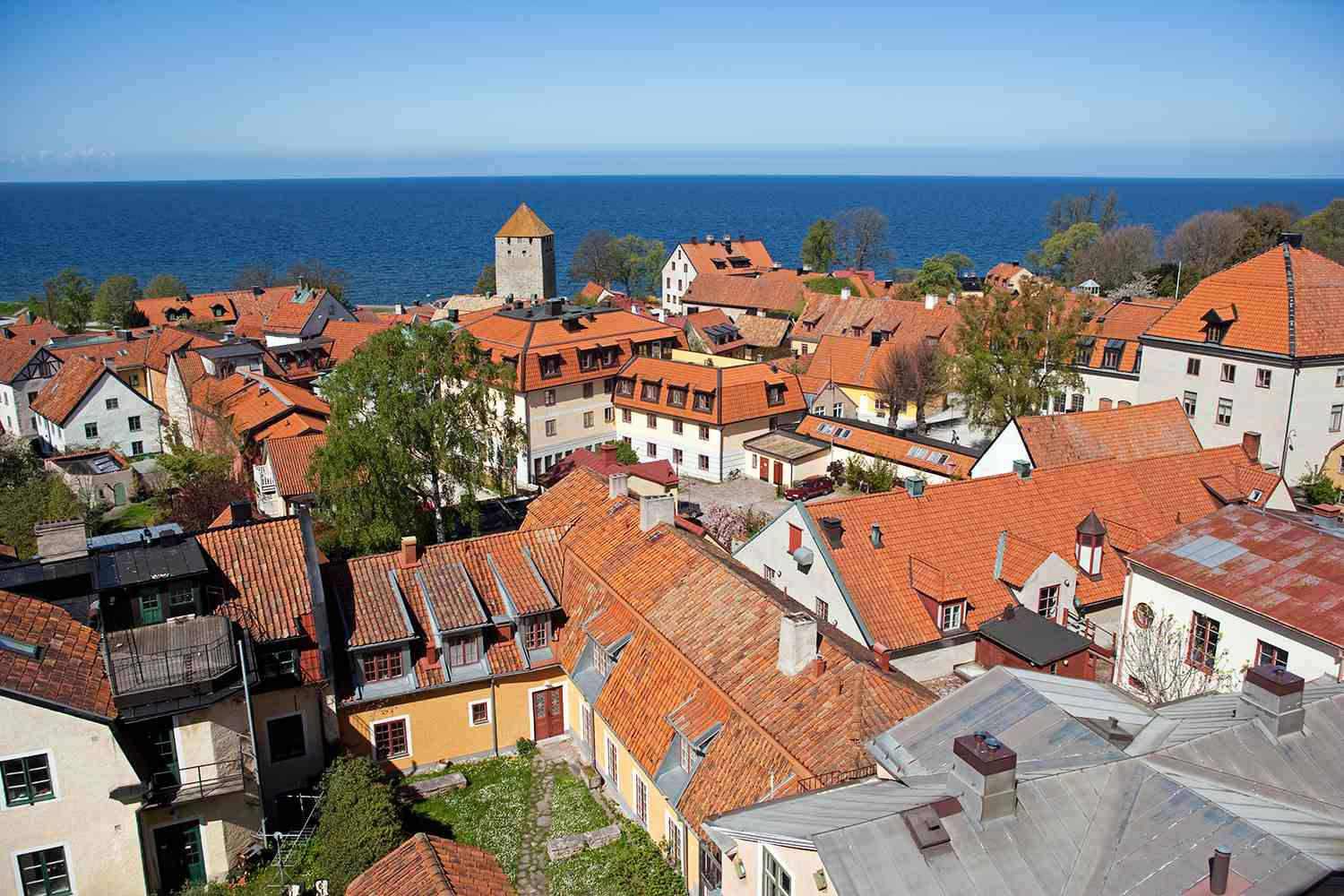 Sweden, Island of Gotland, Visby. Medieval street plan and buildings.