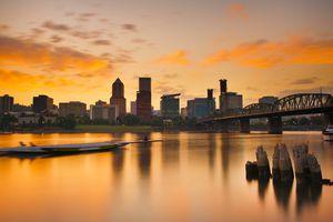 Portland skyline at sunset