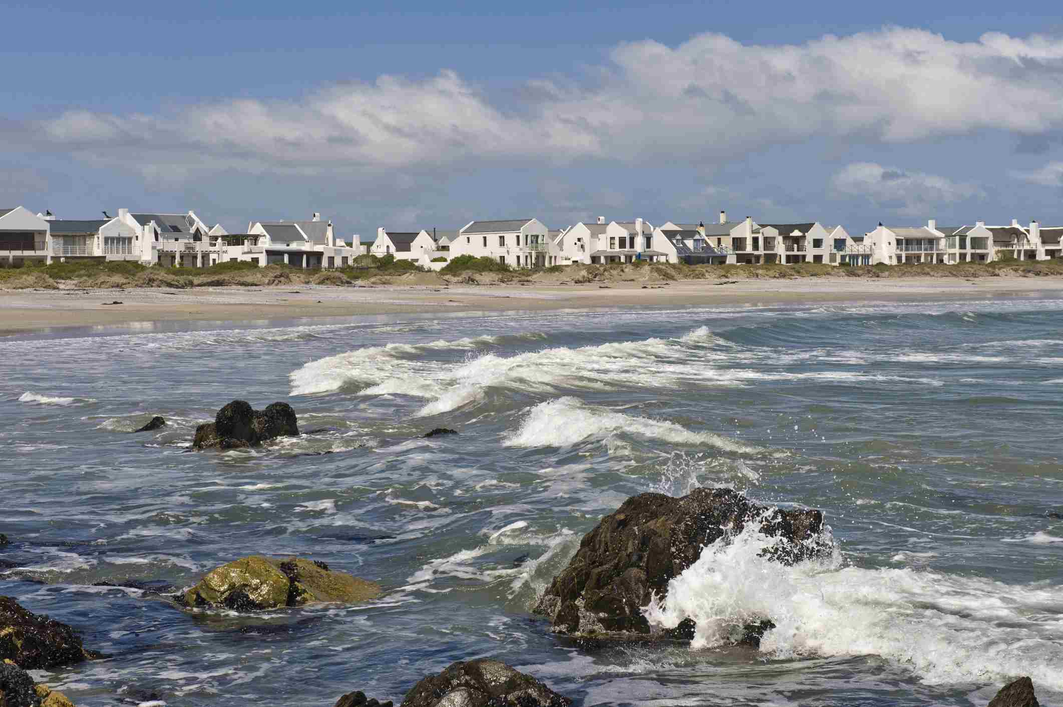 View of Paternoster from the ocean on the Cape West Coast