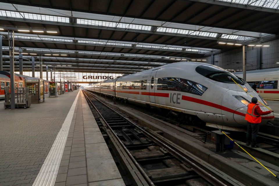 ICE 3 train at Munich main railway station or Muenchen Hauptbahnhof on April 14, 2017 in Munich, Germany