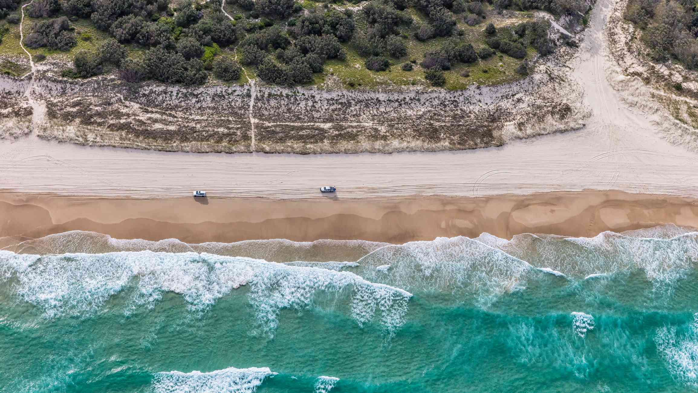 Aerial view of Cape Moreton beach and white sand