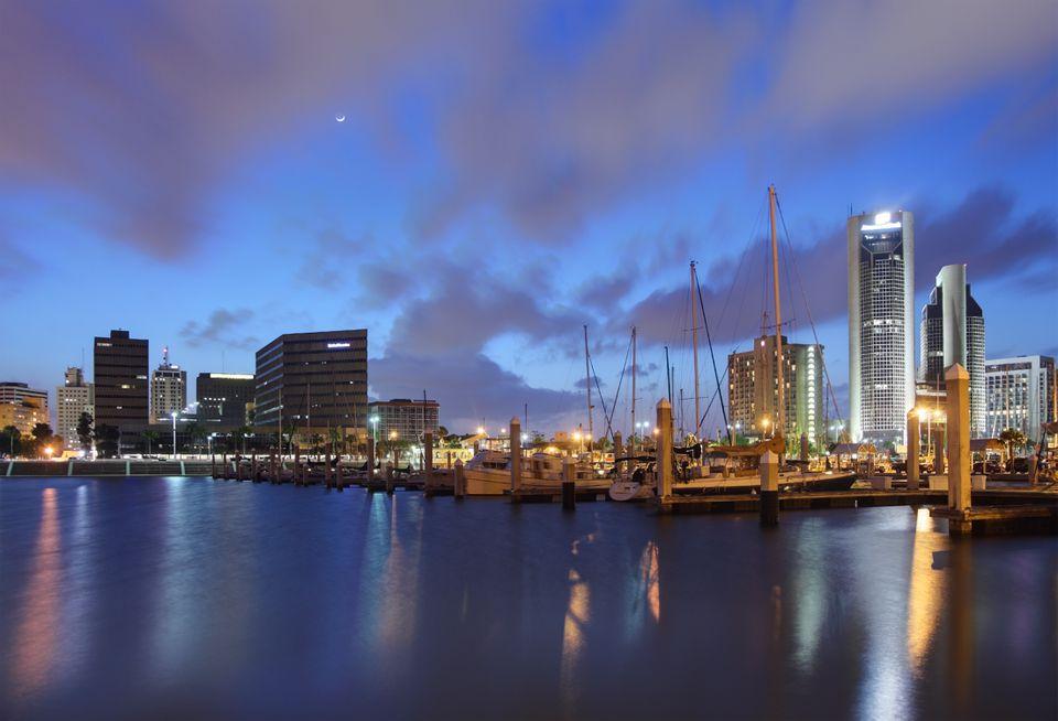 The Corpus Christi skyline, along the water.