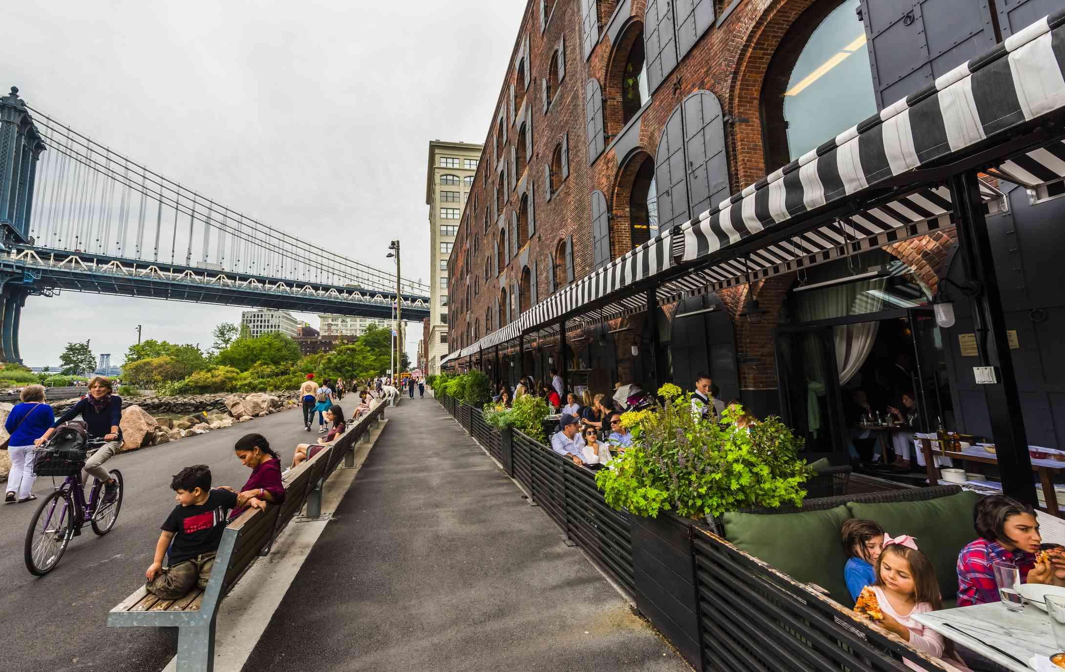 Cicoone's Restaurant, with Manhattan Bridge on left, DUMBO (Down Under the Manhattan Bridge Overpass), Brooklyn, New York USA