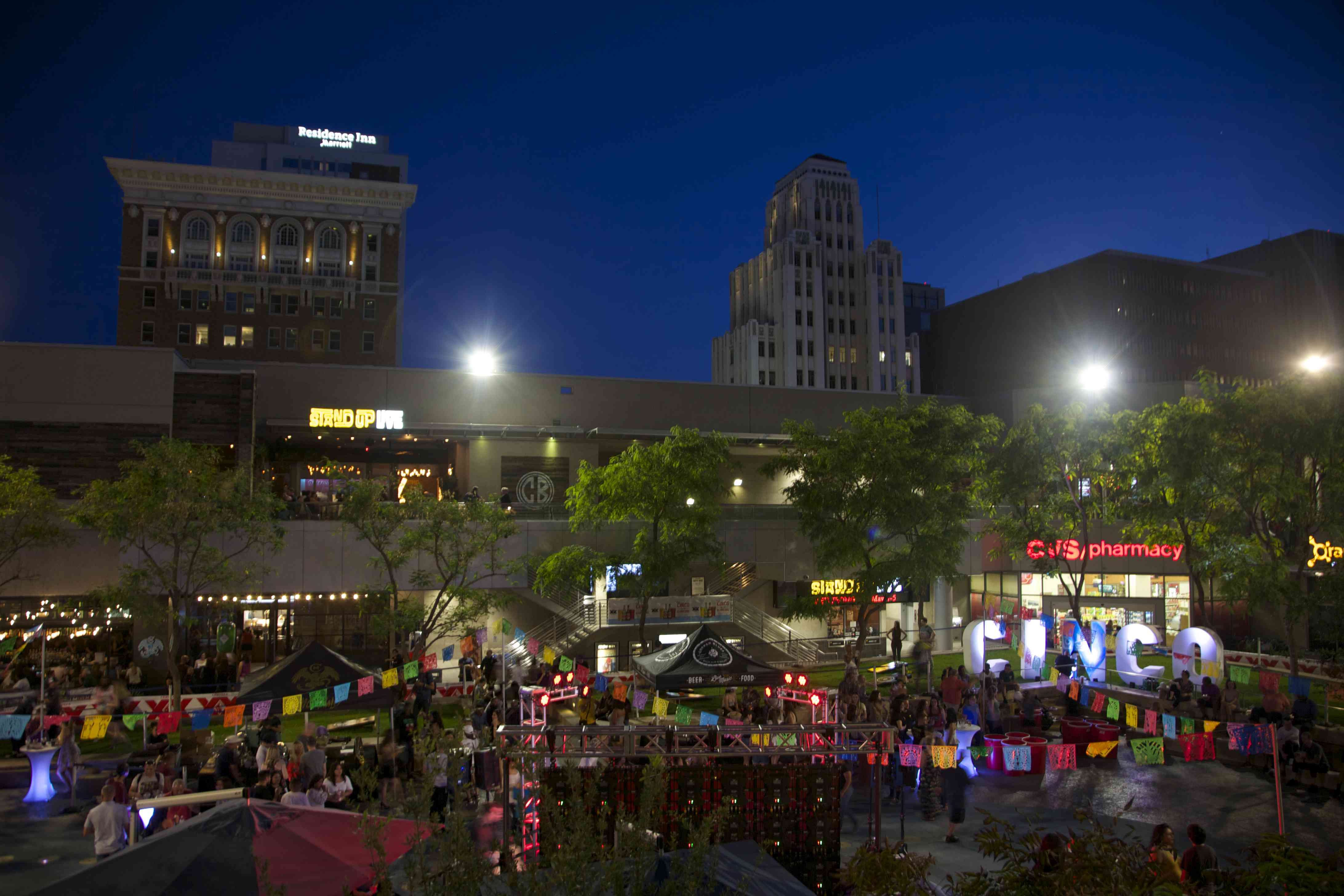 Outdoor nighttime block party in Downtown Phoenix for Cinco de Mayo