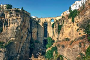 Front view of the new bridge of Ronda in a beautiful sunny day