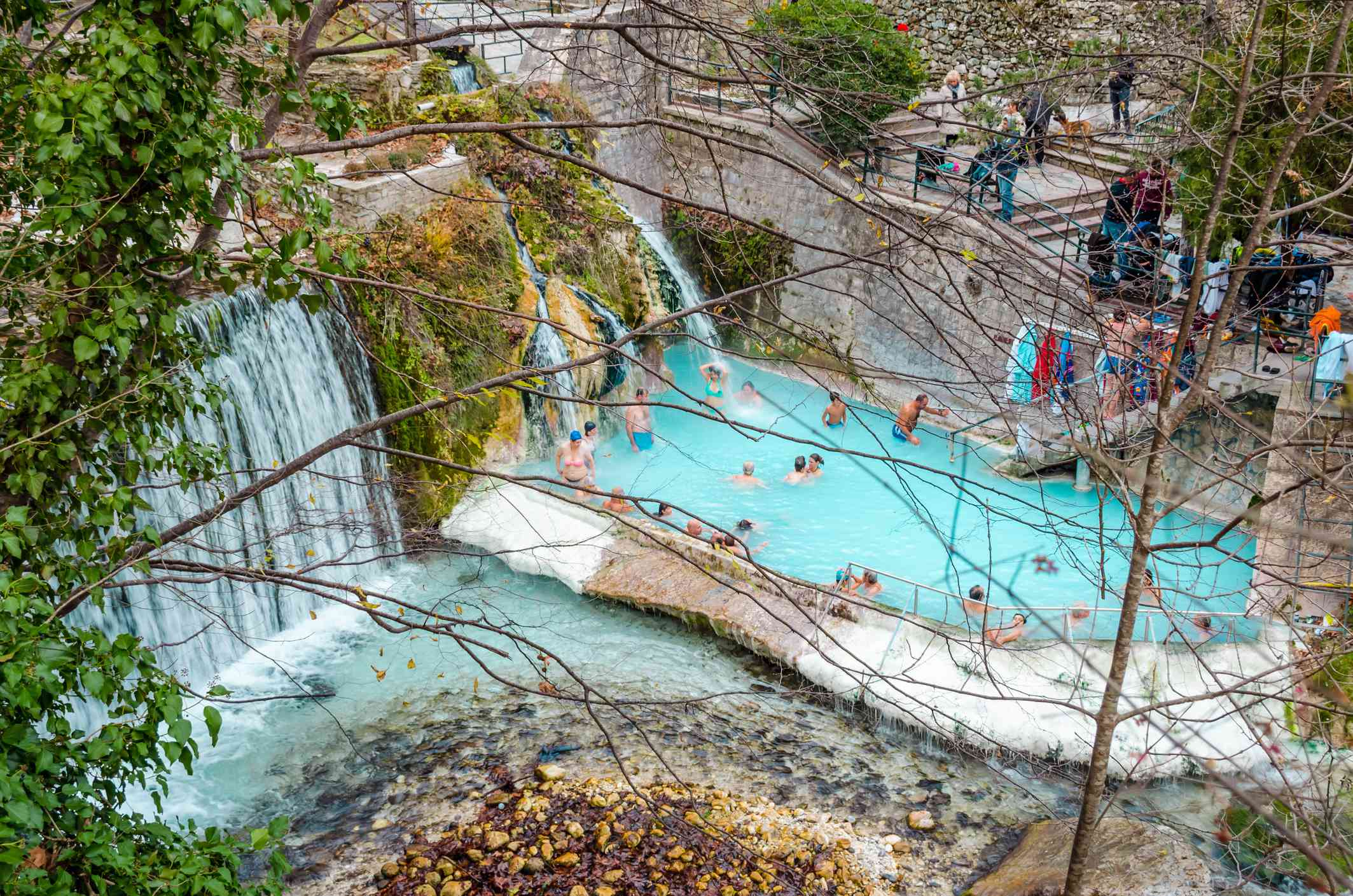 Edessa Greece, Thermal baths and hot springs in Loutra Pozar near Loutraki.