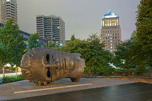 Eros Bendato sculpture and Civil Courts Building