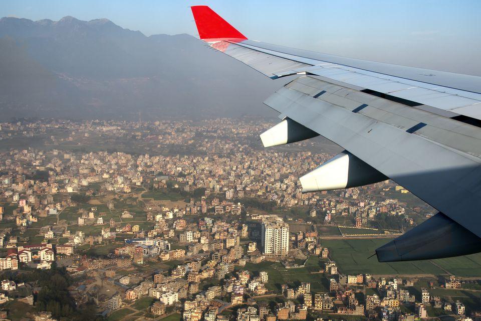 Landing in Kathmandu at sunrise, Nepal