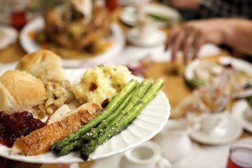 A full plate at Thanksgiving dinner