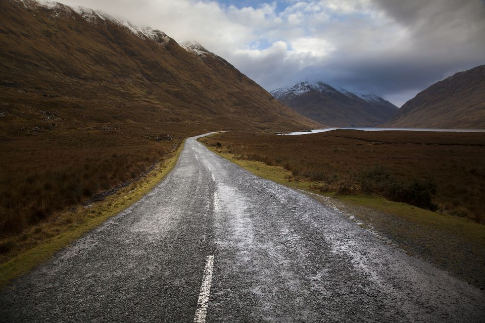 Deserted winter road, doolough, Mayo, Ireland
