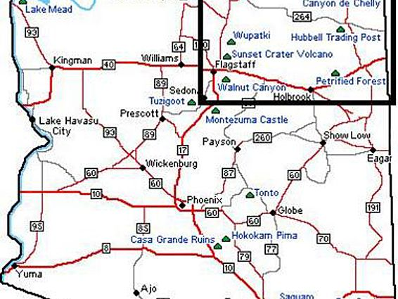 Map Of Arizona Destinations.Great Places To Visit In Northern Arizona