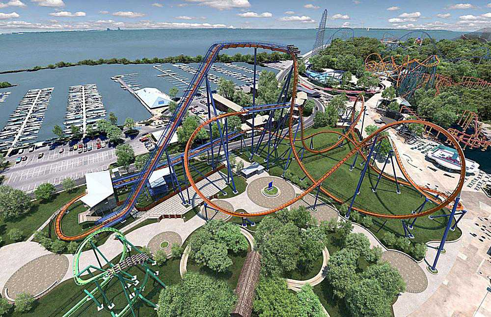 Full View of Cedar Point's Valravn Roller Coaster