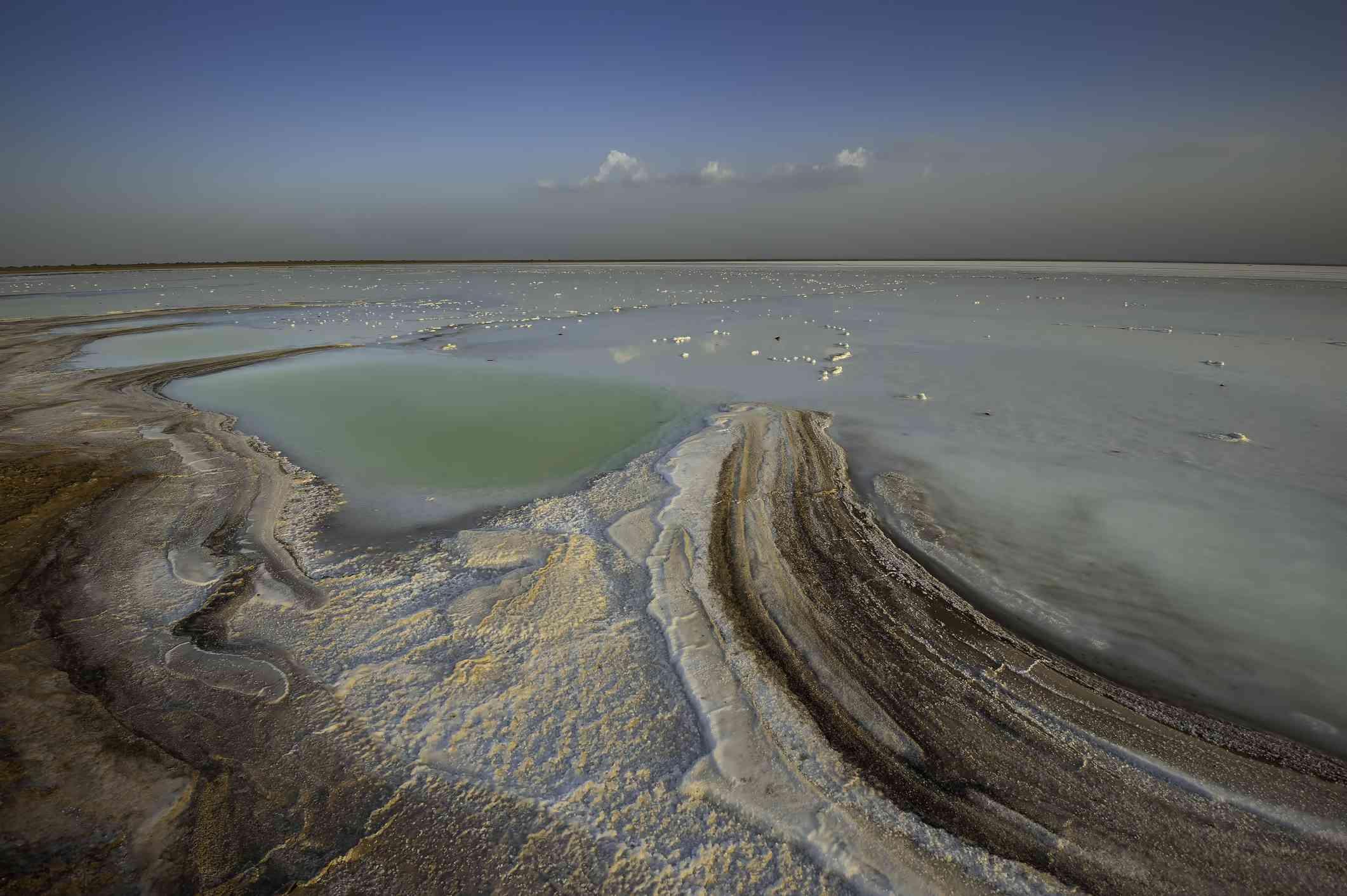 View of Great Rann of Kutch salt desert.