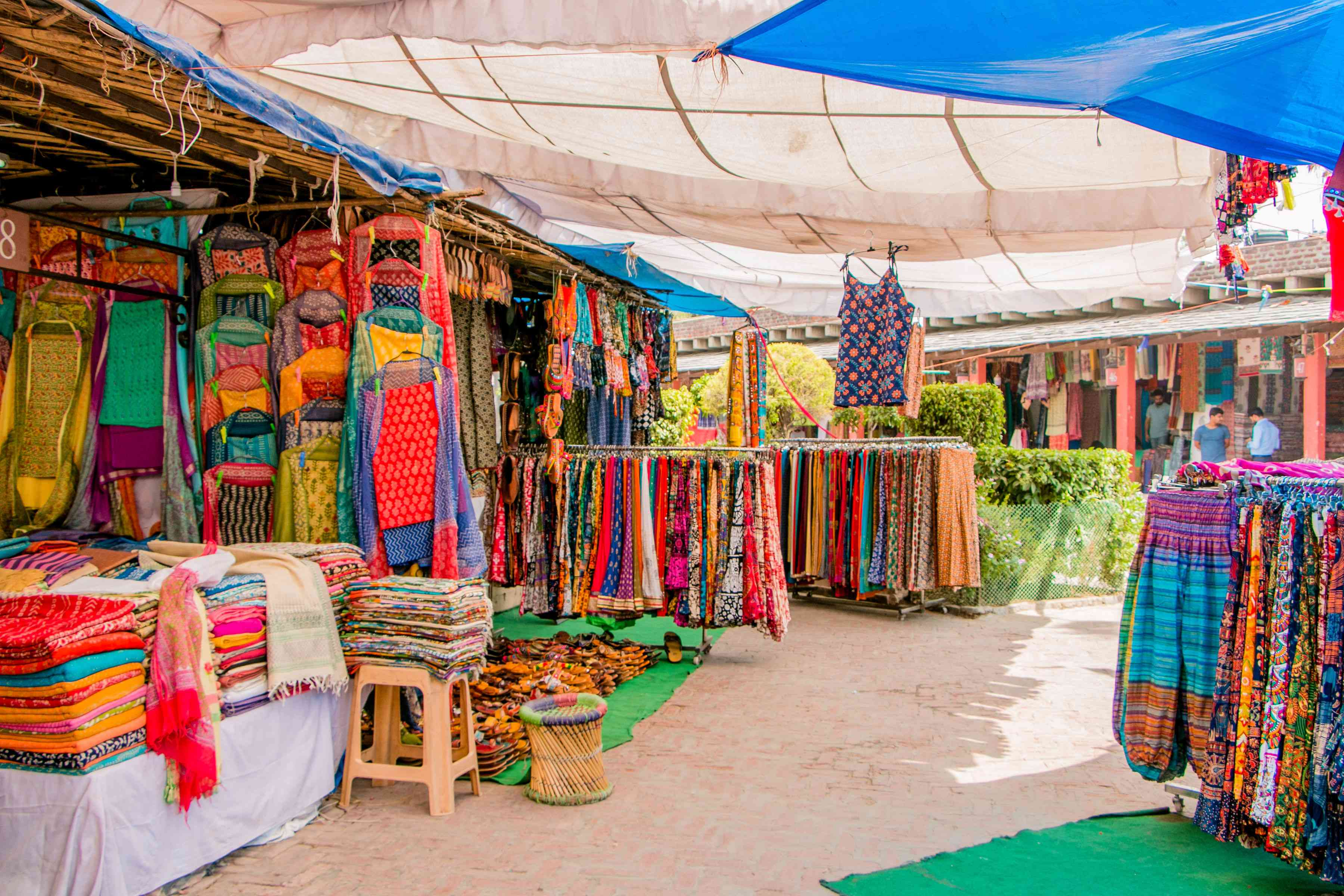 Colorful clothing being sold at Dilli Haat