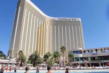 Exterior view and the outdoor pool of Mandalay Bay Hotel, Las Vegas