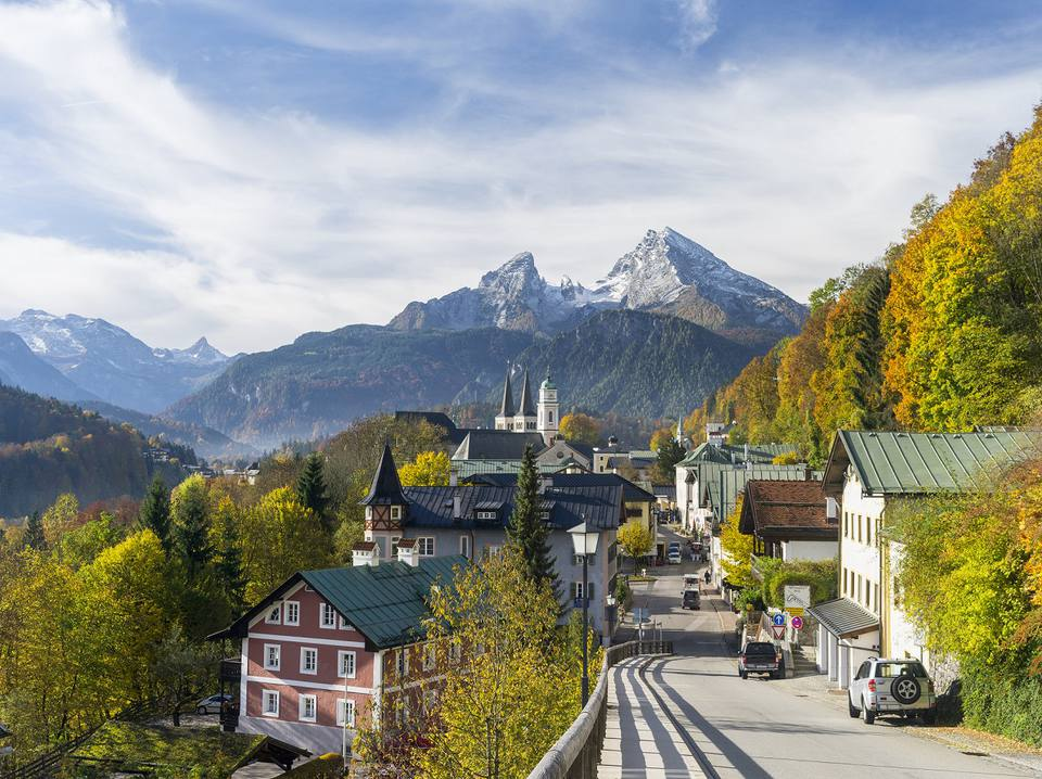Town of Berchtesgaden and Mt Watzmann in Bavaria