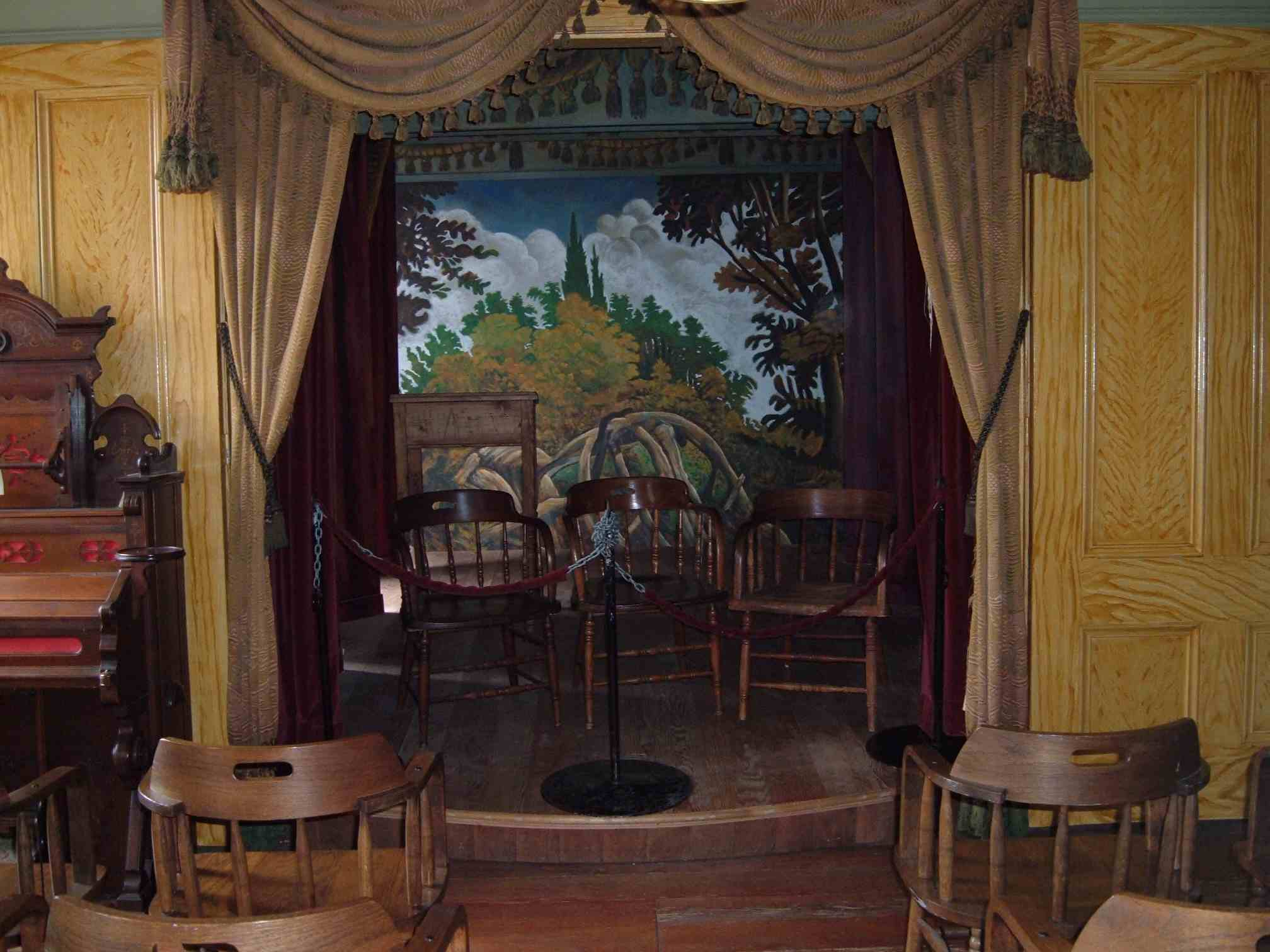 The stage at the Whaley House in California where ghosts are said to perform.