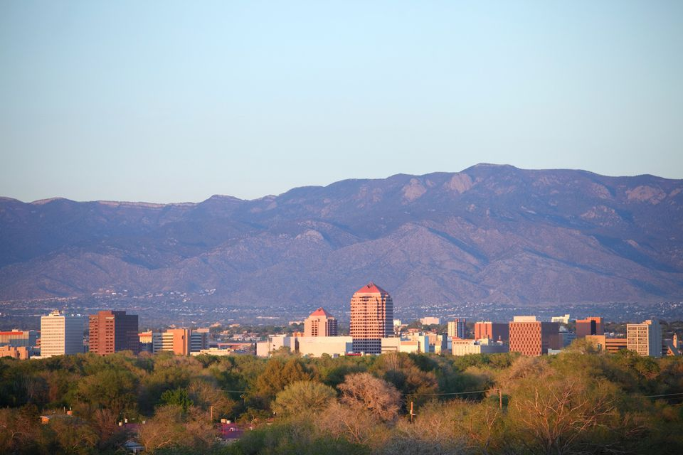 View of downtown Albuquerque with mountains in the background