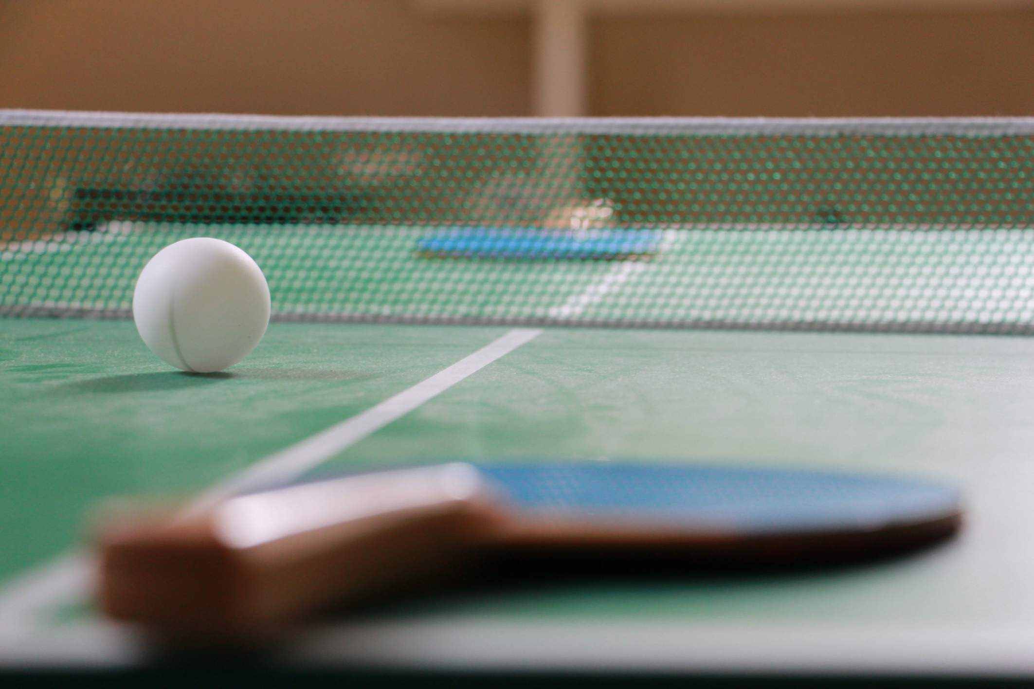 Ping Pong table with paddles and ball