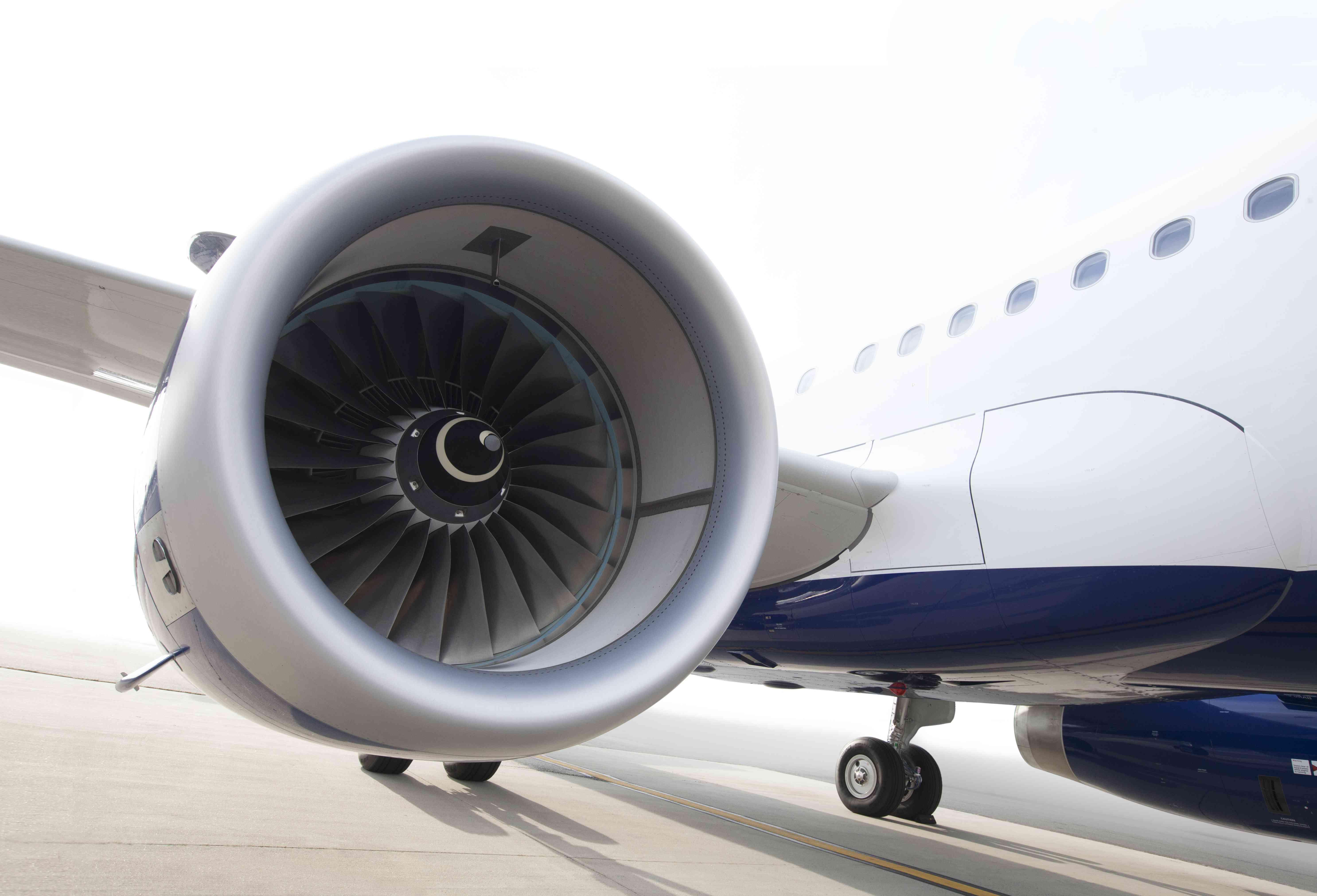 An engine on a JetBlue Plane