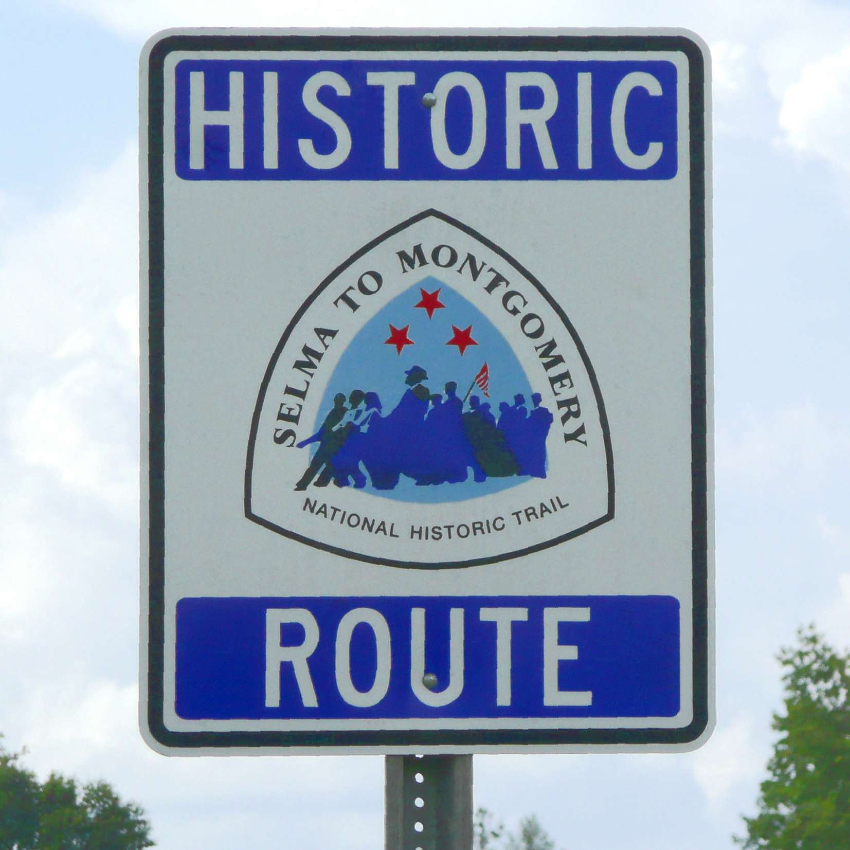 Signpost marking the Selma to Montgomery National Historic Trail