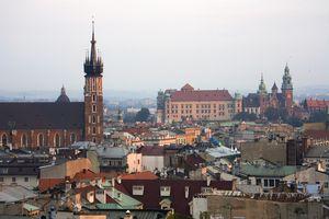 Cityline from high, Krakow, Poland