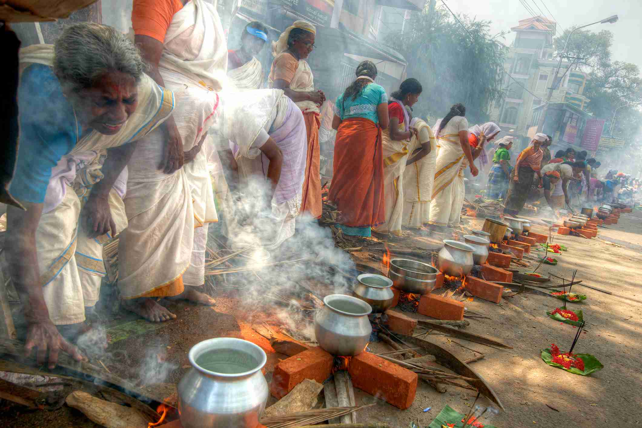Ritual de Pongala en el Templo de Attukal, Trivandrum