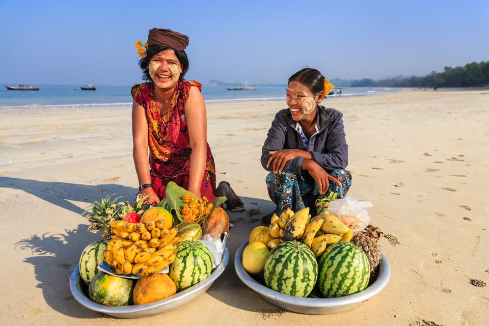 Fruit vendors on Ngapali Beach, Myanmar