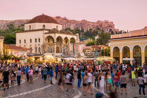 Monastiraki, popular market square in Athens