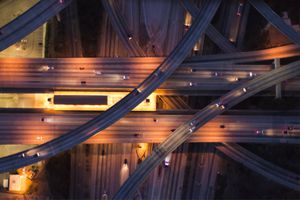 Aerial view of the city overpass at dusk, LA