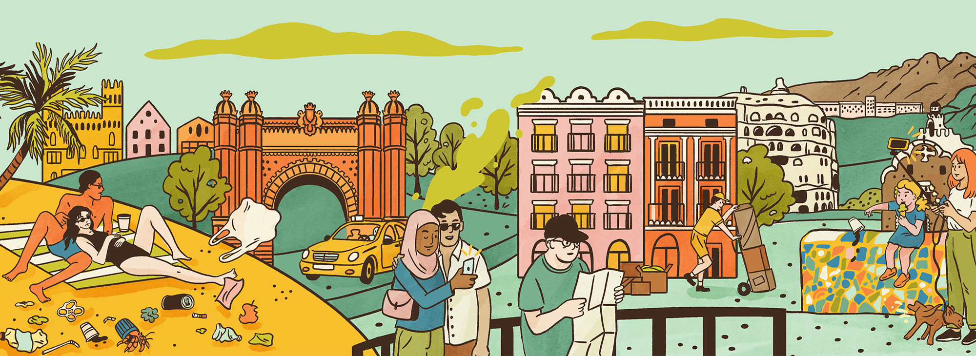 Illustration showing tourists not taking care of a location