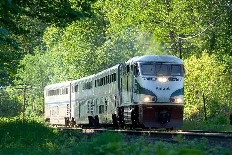 Southbound Amtrak Cascades in Burnaby, BC heading south towards Seattle, Washington.