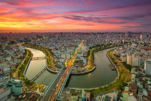 Sunset over Ho Chi Minh City, vietnam