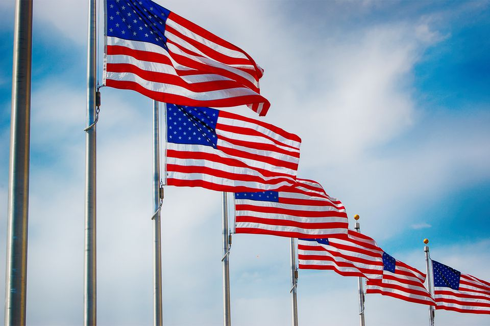 American Flags Flying