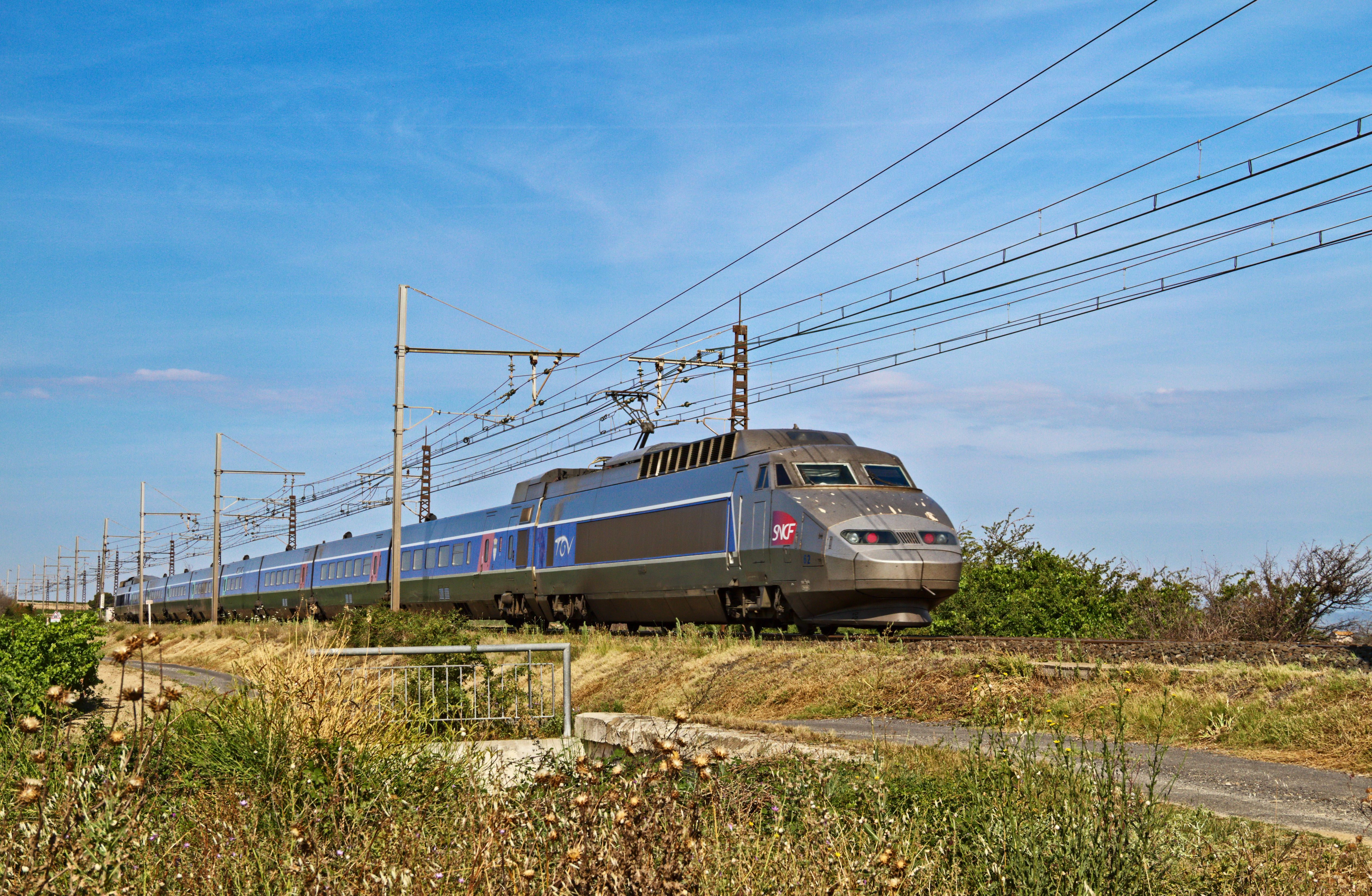 French train close to the Spanish border
