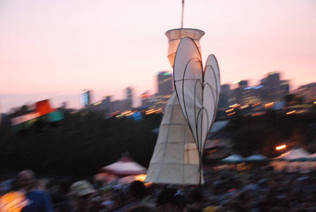 Festival Angel at the lantern parade at Folk Fest