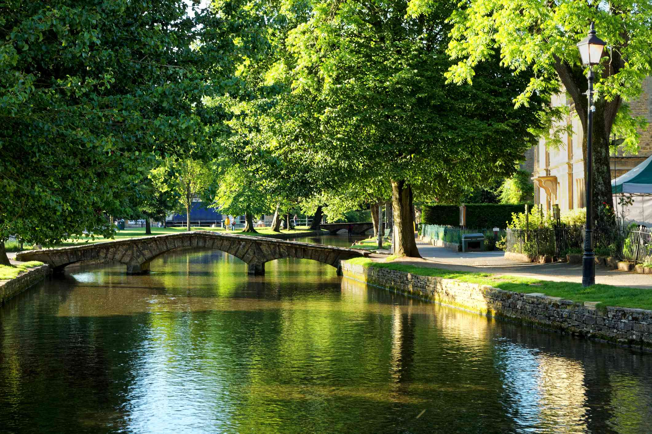 Windrush river in Bourton-on-the-Water in the Cotswolds, Gloucestershire, England