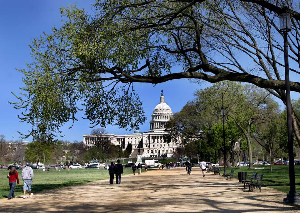 The Capitol Building seen from the National Mall in Washington, DC