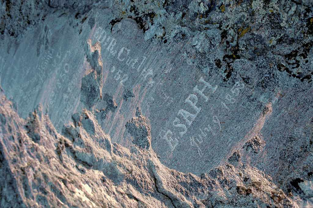 Oregon Trail Pioneer names carved in Independence Rock