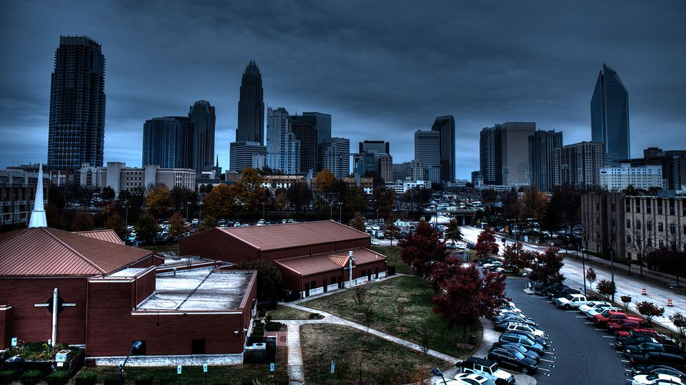 A busy day in Charlotte, NC with a nice skyline.