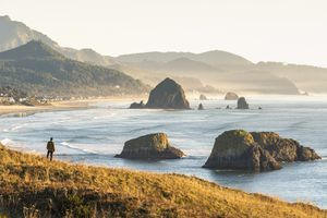 Man looking at view, Ecola State Park, Cannon Beach, Oregon, USA