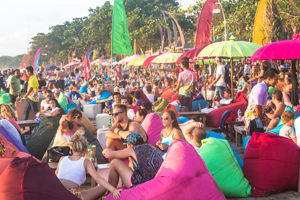 A busy beach club in Bali