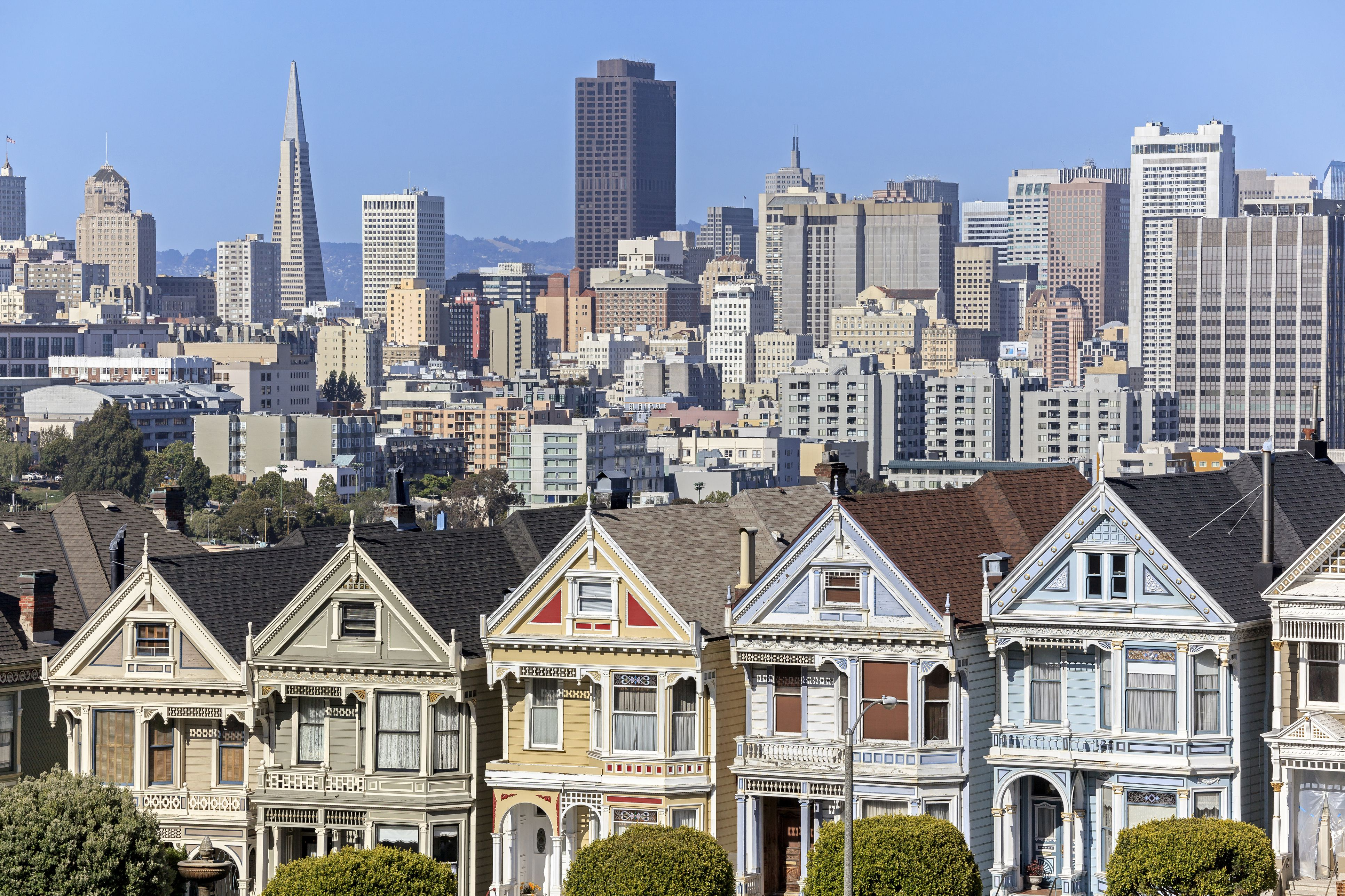 San Francisco, Alamo Square, Victorian houses known as the Painted Ladies, the San Francisco Financial District skyline in the background