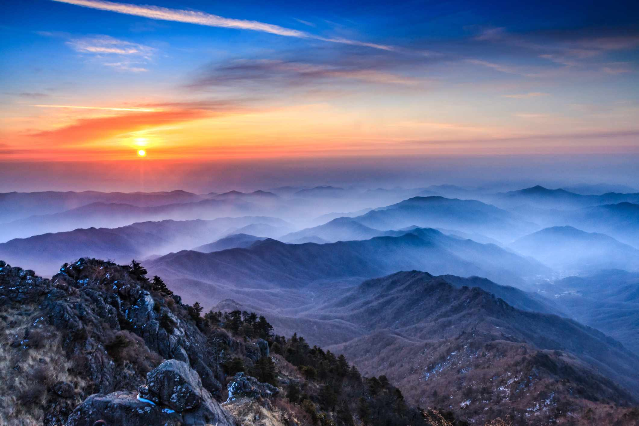 Sunrise over Jirisan National Park, South Korea