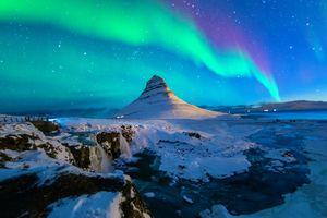 Northern lights at Mount Kirkjufell, Iceland
